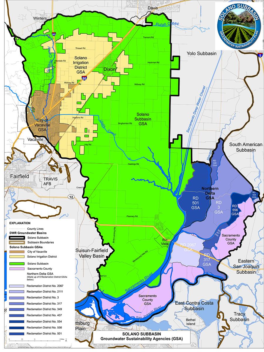 Solano Subbasin GSA Boundaries Map